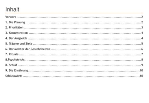 PLR eBook Lebe jetzt - Inhaltsverzeichnis.